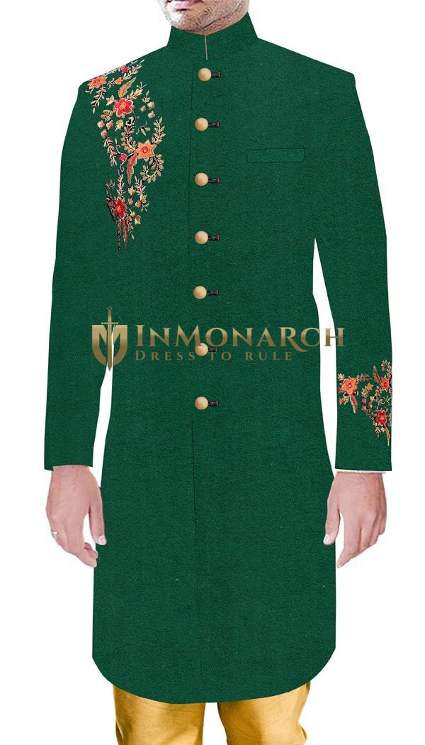 Mens Traditional style Wedding Green Sherwani With Golden Embroidery
