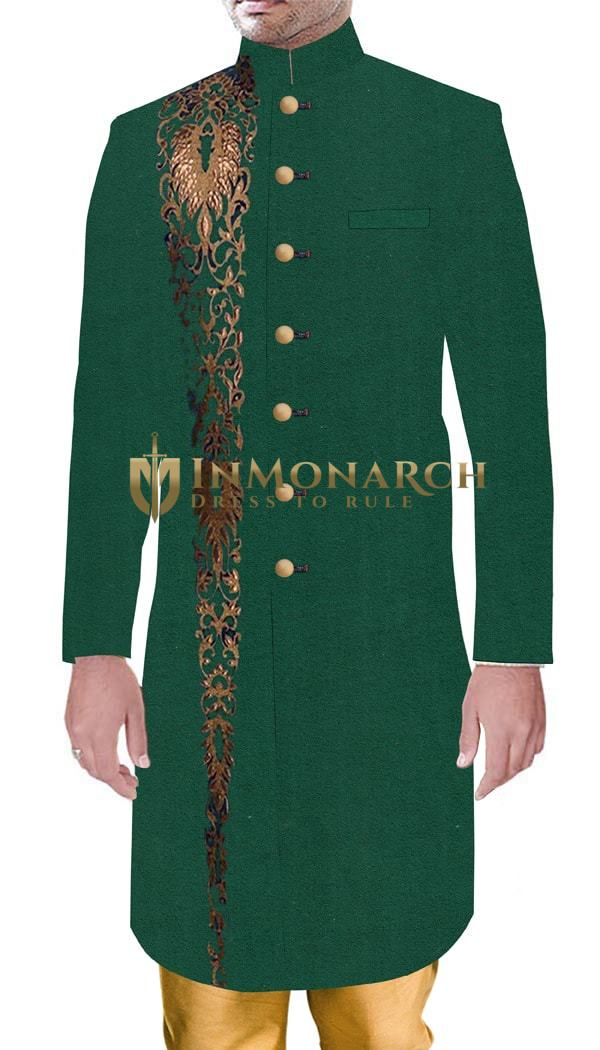 Men Marriage and Party wear Outfit Wedding Green Sherwani Trendy Embroidered