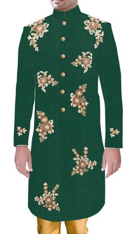 Groom Attire For Indian Green Wedding Sherwani With Golden Embroidered