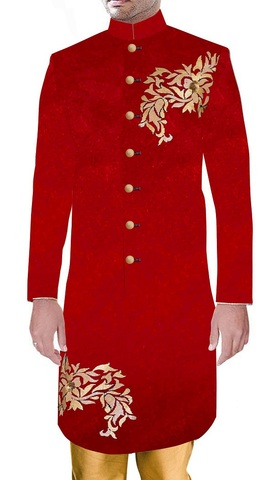 Mens Indo Western Indian Groom Attire For Wedding Traditional Style Red Sherwani