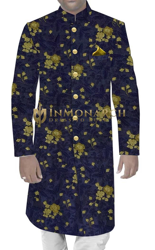Mens Western Attire Dark Navy Shiny Silk Sherwani Traditional Style Golden Embroidered