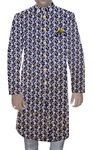 Mens Indian Ethnic Wear For Groom Embroidered Blue Shiny Silk Wedding Sherwani