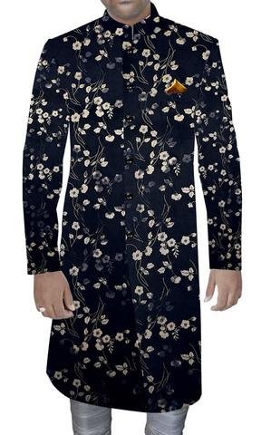 Mens Latest Men Sherwani Designs Black Printed Ethnic Wedding Sherwani