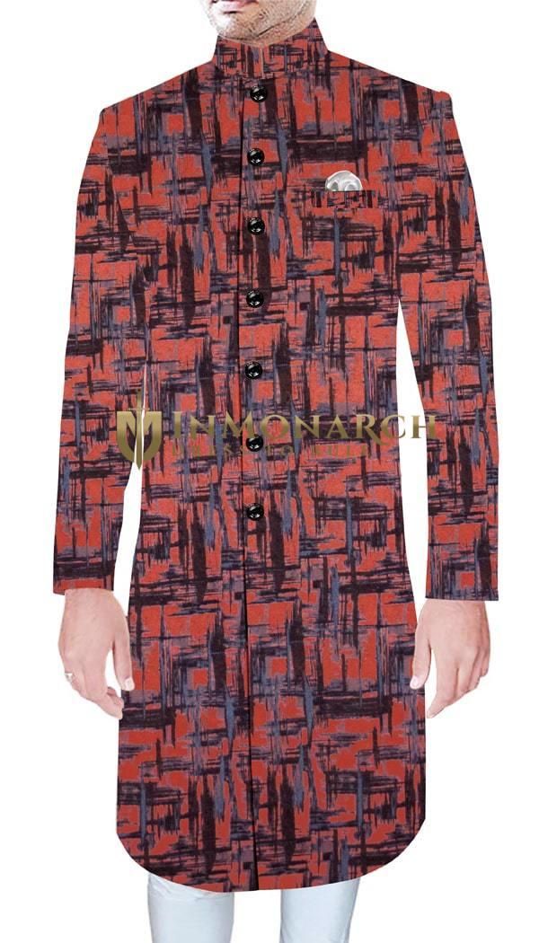 Mens Wedding Ethnic Wear For Groom Red Sherwani Designer Ethnic Traditional Dress