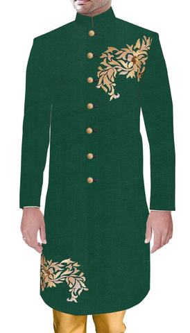 Mens Indo Western Ethnic Traditional Dress Green Sherwani Designer Golden Embroidery