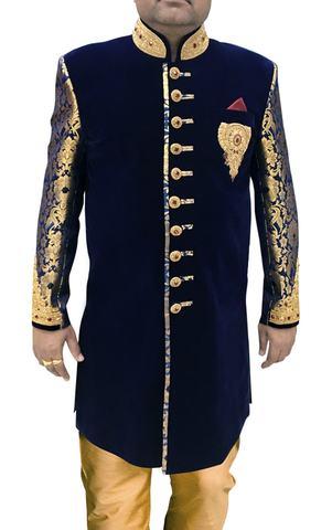 Indian Sherwani for Men Navy Blue Indowestern Sherwani For GroomsMen