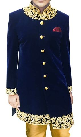 Mens Wedding Sherwani Blue Wedding Indowestern Sherwani Embroidered