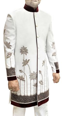 Mens Sherwani Kurta White Indo Western Sherwani Patch and Embroidery Work