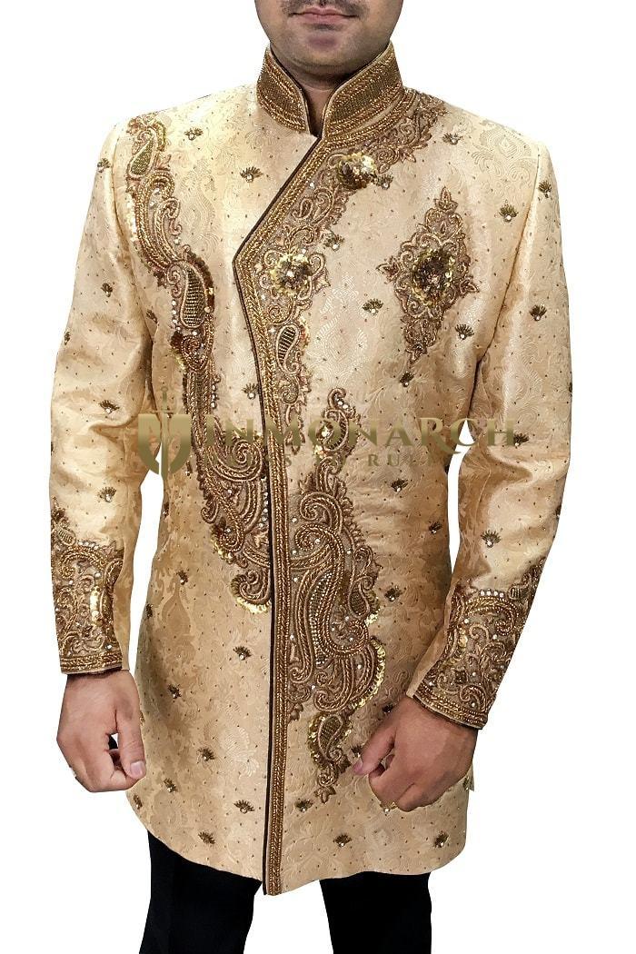 Burlywood Heavy Embroidered Indian Wedding Sherwani for Groom