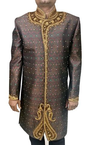 Mens Western Attire Indian Wear Brown Wedding Sherwani Golden Embroidered