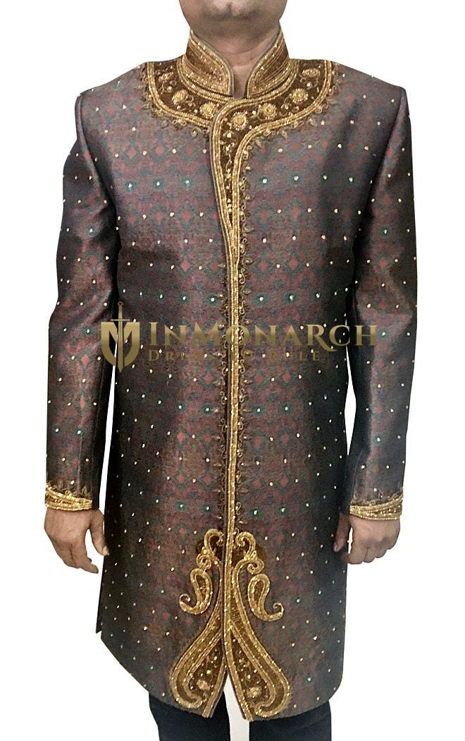 Mens Western Attire Indian Wear Brown Wedding Sherwani Golden Embroidered