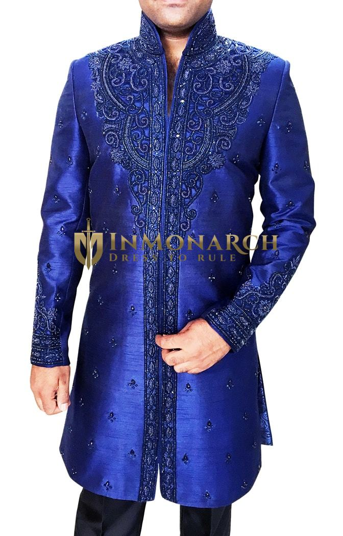 Mens Royal Blue Shiny Silk Indian Designer Sherwani Marriage Party wear Outfit