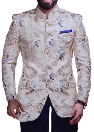 Mens Mandarin Collar Suit Paisley Pattern Ivory Jodhpuri Suit