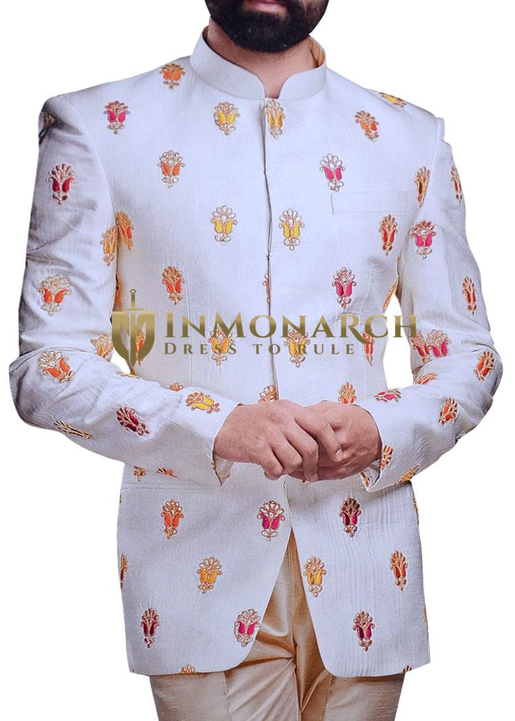 White Mens Embroidered Jodhpuri Suit | Nehru Collar Suit