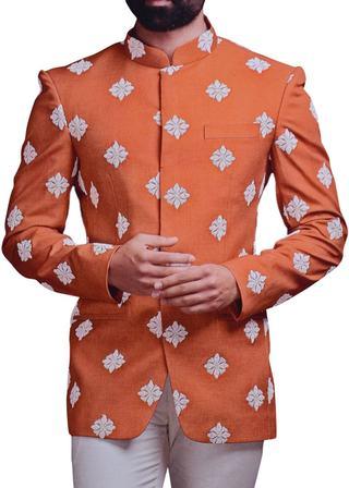 Mens Rust Jodhpuri Suit Embroidery Work Mandarin Collar Suit