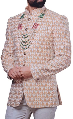 Groom Mandarin Collar Suit Designer Peach Jodhpuri Suit