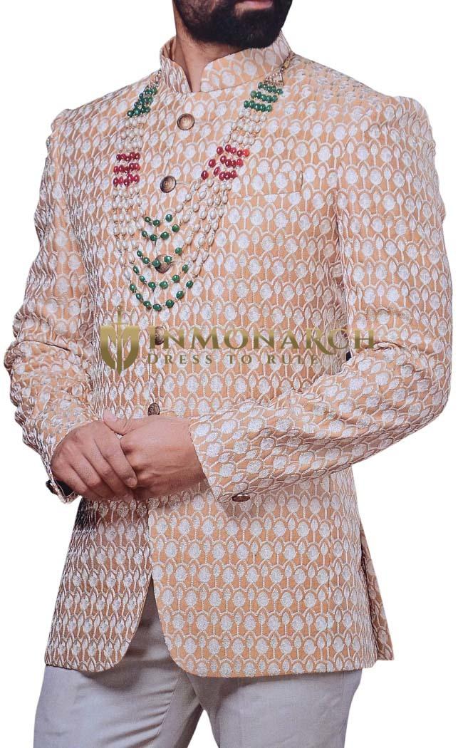 Groom Mandarin Collar Suit Designer Peach Jodhpuri Suit