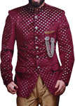 Groom Mandarin Collar Suit Maroon Velvet Cutwork Jodhpuri Suit
