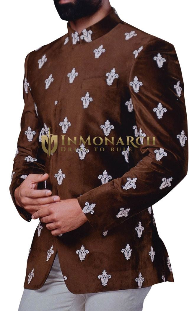 Mens Wedding Suits Brown Velvet Embroidered Jodhpuri Suits