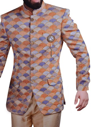 Indian Wedding Jodhpuri Suit Designer Peach Bandhgala Suit