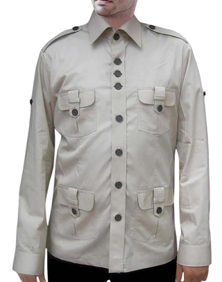 Mens Safari Shirt 4 pocket Gainsboro Zoo Keeper Shirt Bush Shirts