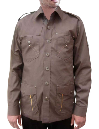 Crocodile Hunter Costume Safari Brown cotton 4 pocket Bush Shirts