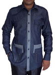 Crocodile Hunter Costume Safari Denim Blue Cotton 4 pocket Bush Shirts