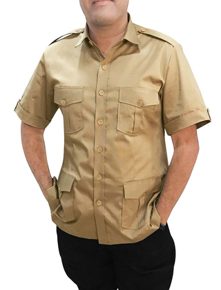 Boy Scout Uniform burlywood Safari Shirt Mens Hunting Shirts Half Sleeves
