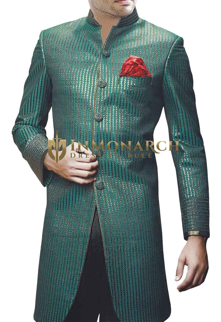 Sherwani for Men Wedding Green Indo Western Party-wear Sherwani