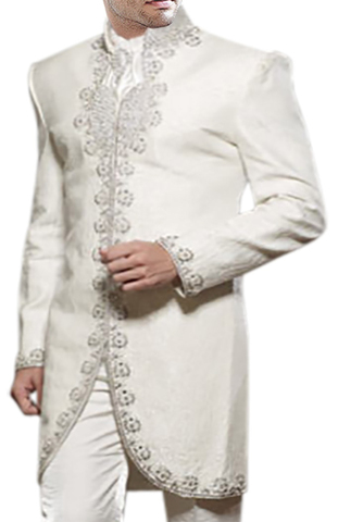 Mens Indian Wedding Clothes White Indo Western Embroidered Party Wear