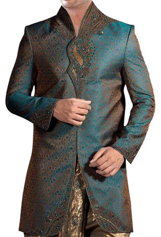 Sherwani Kurta Green Indo Western Suit Angarakha Style Wedding Sherwani