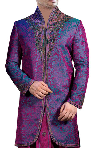 Indian Wedding Clothes for Men Purple Indo Western Suit Sherwani for Men