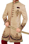 Mens Embroidered Sherwani Beige Indo Western Sherwani kurta for Jeans