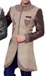 Indian Wedding Clothes for Men Beige Indo Western Brocade Sleeves