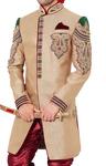 Mens Sherwani kurta Beige Indo Western Hand Work Wedding Sherwani