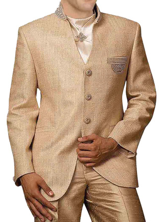 Mens Bisque Jute 4 Pc Jodhpuri Suit Wedding