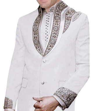 Mens White Linen 3 Pc Jodhpuri Suit Wedding