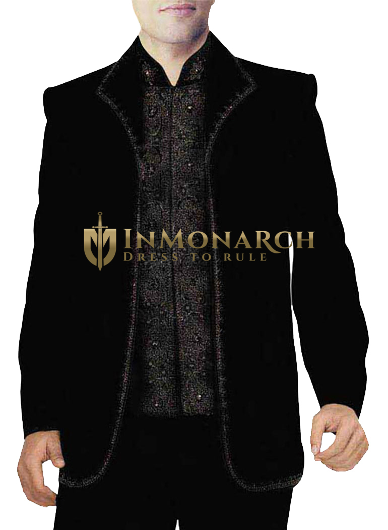Mens Black 3 Pc Jodhpuri Suit Designer Embroidered