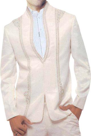 Mens Ivory Polyester 3 Pc Jodhpuri suit Designer