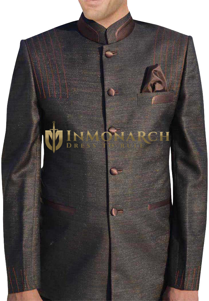 Mens Brown 3 Pc Jodhpuri Suit Thread Work