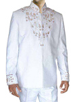 Mens White Polyester 2 Pc Jodhpuri Suit Reception