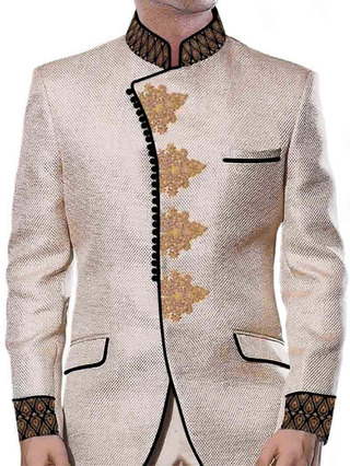 Mens Beige Jodhpuri Coat Luxurious 3 Pc