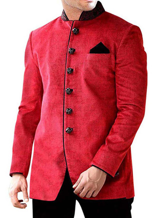 Mens Red Velvet 3 Pc Jodhpuri Suit