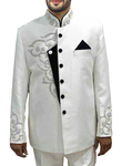 Mens Cream 3 Pc Jodhpuri Suit Embroidery Work