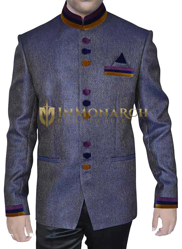 Mens Dark Navy Jute 3 Pc Jodhpuri Suit