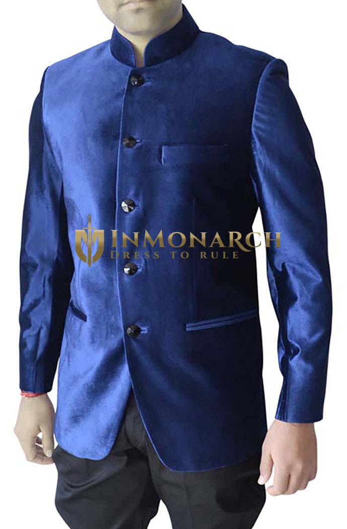 Mens Dark blue Velvet 2 Pc Jodhpuri Suit With Breeches