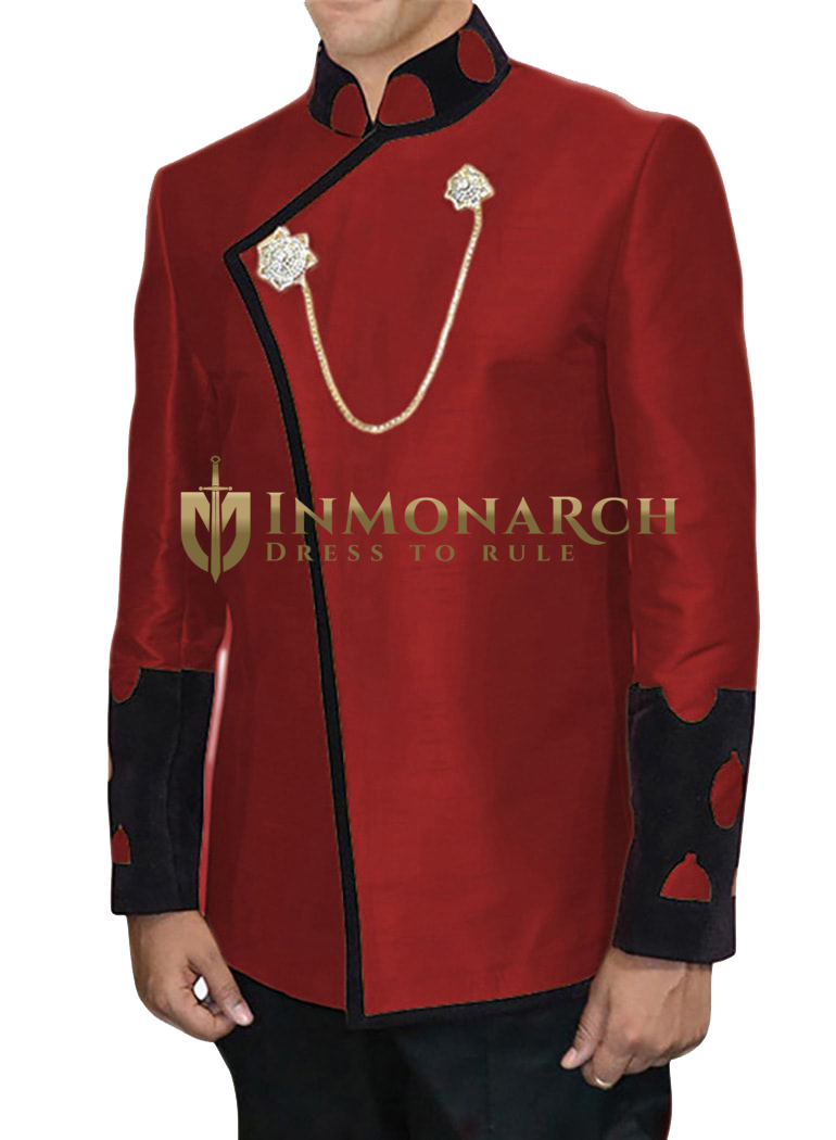 Mens Red 3 Pc Jodhpuri Breeches Coat