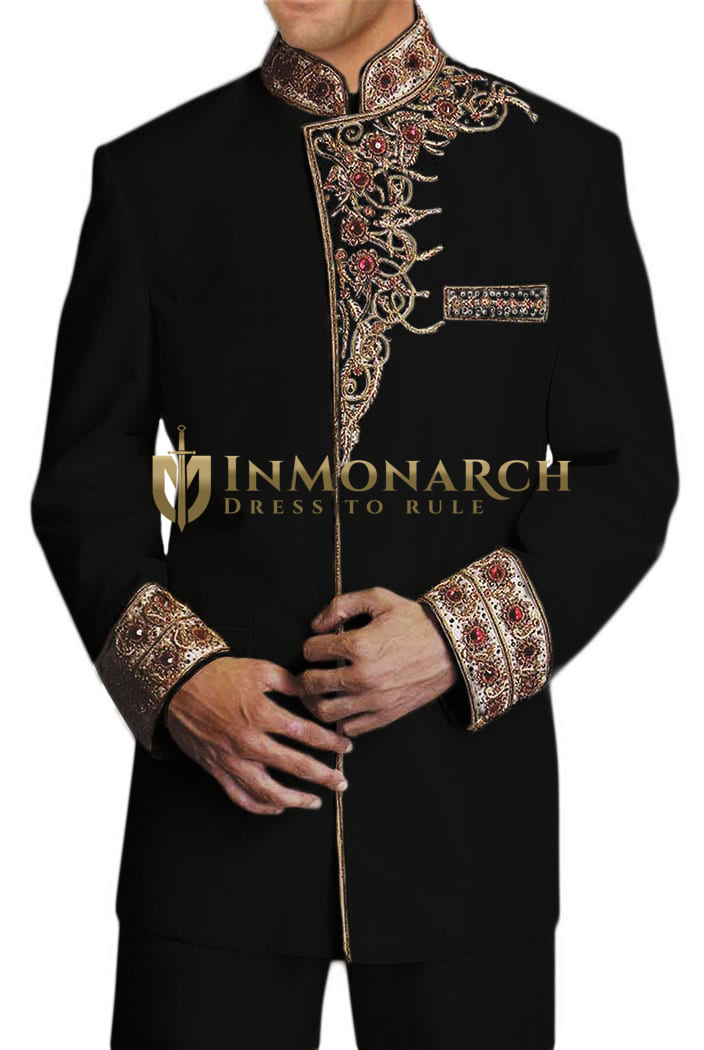 Mens Black 2 Pc Jodhpuri Suit Hand Embroidered