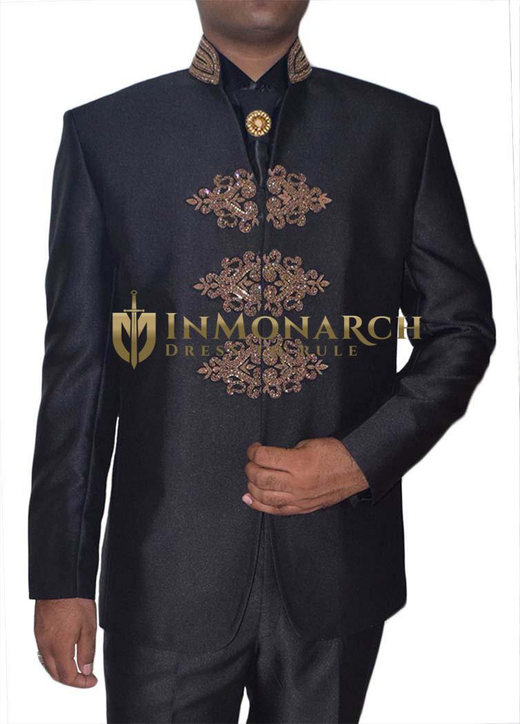 Mens Black 5 Pc Jodhpuri Suit Designer Embroidered