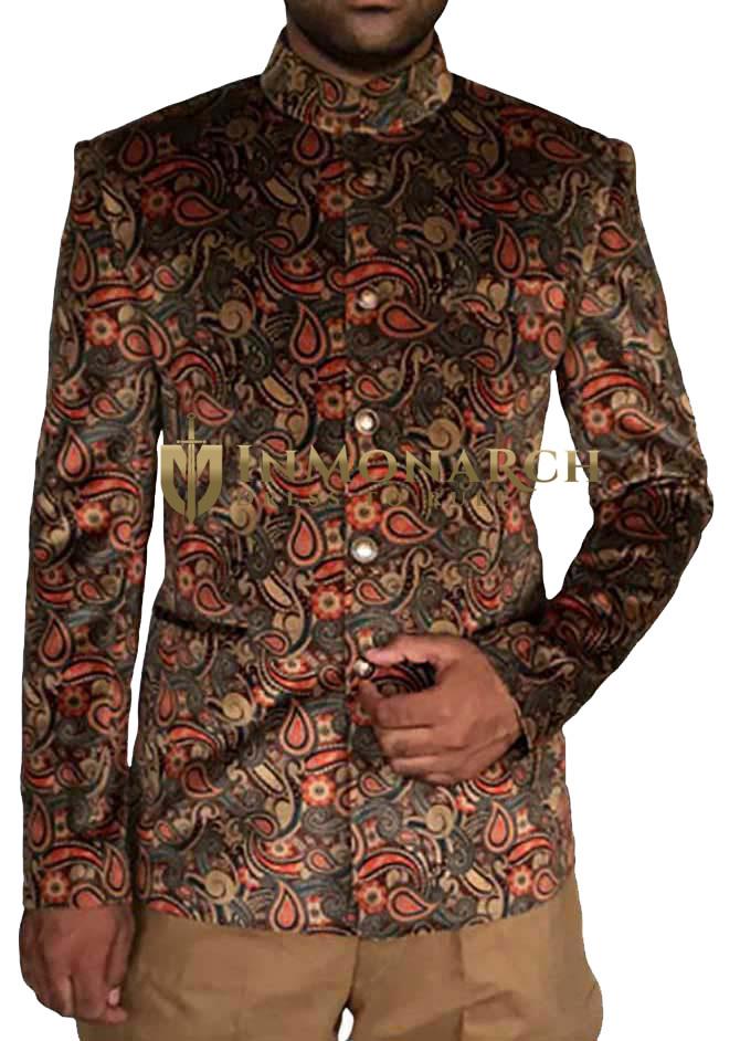 Mens Gray 2 Pc Printed Jodhpuri Suit Grooms 5 Button